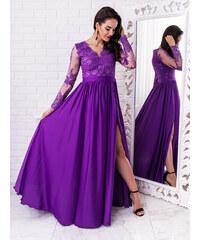 85ae564096b3 www.glashgirl.sk Fialové dlhé spoločenské šaty s čipkou s dlhým rukávom Luna