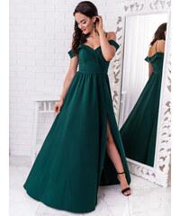 7cc20004f100 www.glashgirl.sk Tmavozelené dlhé spoločenské šaty s odhalenými ramenami  Elisabeth