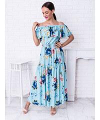 38c591e5aa83 www.glashgirl.sk Modré dlhé kvetované šaty cez ramená s volánom Anastasia
