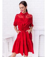 3148bc845525 www.glashgirl.sk Červené midi šaty doplnené čipkou Melody