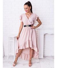 60ae4ab506cc www.glashgirl.sk Bledoružové asymetrické šaty s volánmi Anitta