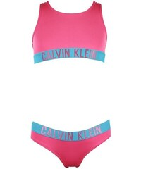 4c71d97c1b40 Calvin Klein růžové dívčí dvoudílné plavky Bandeau Set - 12-14