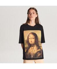 69b380b8cf Cropp - Tričko s potlačou Mona Lisa - Čierna