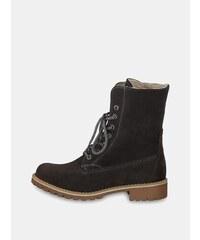 6b6b931f99ec Sivé semišové členkové nepremokavé zimné topánky so zateplenou podšívkou  Tamaris