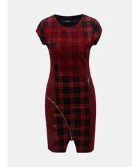 6c8c576f616d Čierno–červené kockované puzdrové šaty s ozdobnými zipsami Desigual Roma