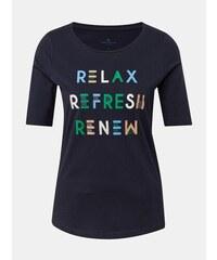 6798044ae101 Tmavomodré dámske tričko s potlačou Tom Tailor