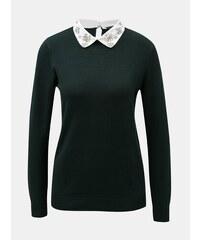 4db3b5da02fb Tmavozelený tenký sveter s ozdobným golierikom Dorothy Perkins