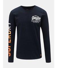 ded5747e59 Tmavě modré pánské tričko s dlouhým rukávem a potiskem Superdry Vintage Logo