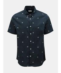 aa325b655316 Tmavomodrá vzorovaná košeľa Burton Menswear London