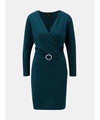 1460c52d35 Petrolejové šaty s prekladaným výstrihom Dorothy Perkins