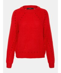 71111b3727ca Červený sveter s dierovanými detailmi VERO MODA Jay
