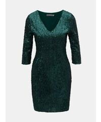 2eb12523f1 Tmavozelené flitrované šaty s 3 4 rukávom Dorothy Perkins Petite