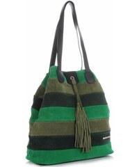 402ff0100a Kožená Kabelka Shopper Vittoria Gotti Made in Italy Multicolor Zelená