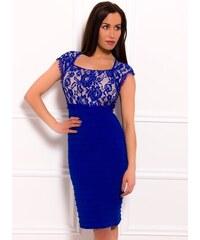 681c174a16dc Due Linee Dámské šaty s krajkou elastické královsky modro - béžové