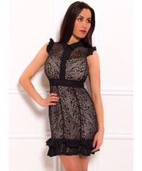 a48f8d6ce2ba Due Linee Dámské luxusní šaty s krajkou a volánkem černo - béžová