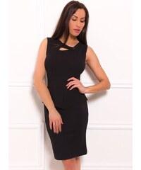 173f25817d32 Glamorous by Glam Dámske puzdrové peplum šaty a gombíkom - čierna