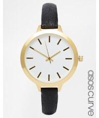 ASOS CURVE Large Face Slim Strap Watch - Black