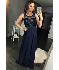 aa3d7ea5bcf3 Eva Lola Dámské večerní flitrované šaty modré