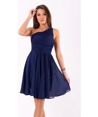 5e3f99672834 Eva Lola Krátké společenské šaty na jedno rameno tmavě modré