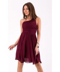 0de3f12ddbda Eva Lola Krátké společenské šaty na jedno rameno vínové
