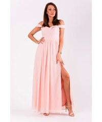 42c7c0987c2f Eva Lola Elegantní šaty se spadlými rameny růžové
