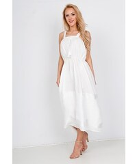 0ef82ae6b34d Rouzit Elegantné biele midi šaty na ramienka