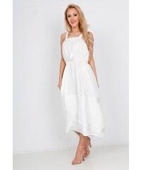 4d05e23ce6ba Rouzit Elegantné biele midi šaty na ramienka