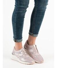 4e549627b7 Filippo Kožené sneakersy na klínu růžové