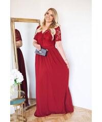ef778b5f5bcd ZAZZA Bordové elegantné šaty s krátkym rukávom