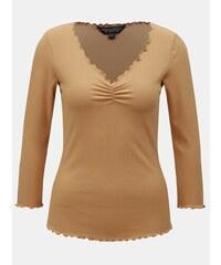f7880ca03296 Béžové rebrované tričko s 3 4 rukávom Dorothy Perkins