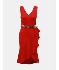 1cb55bc849d0 Červené puzdrové šaty s volánom Dorothy Perkins