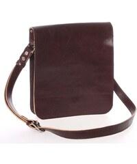 e4de583765 Tmavo hnedá luxusná kožená taška cez rameno KABEA Luxor-T hnedá