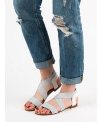 445dd996d67e PK Luxusní šedo-stříbrné sandály dámské na plochém podpatku