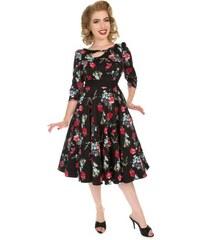 741c5aac6740 Dedoles Retro pin up šaty s rukávom Modré a červené kvety S