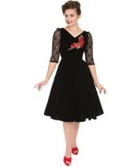 88eb9bc6c63b Dedoles Retro pin up šaty s rukávom Ruža s čipkou S