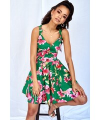649bbcd14a59 Dámske kvetované šaty MQ-655 zelené