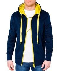 7c23229cc9ad Ombre Clothing Moderná modro-žltá pánska mikina b485