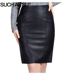 e1f1047d3ca9 SUCH AS SU Elegantní dlouhá sukně s vysokým pasem z PU kůže