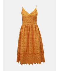 e4c07f2ef1ea Horčicové šaty na ramienka s madeirou Dorothy Perkins Petite