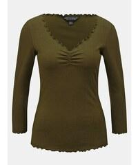 9c5988818be1 Kaki rebrované tričko s 3 4 rukávom Dorothy Perkins