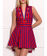 cd01988b9456 Due Linee Dámské luxusní šaty s pruhy a hlubokým výstřihem modro - oranžová