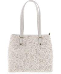 4ddbf496a5 Exkluzivní dámská kožená kabelka šedo béžová - ItalY Logistilla béžová