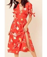 b4e0b89541ef PLANETA-MODY Červené kvetované midi šaty 205-6456