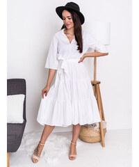 2e32724ffd00 www.glashgirl.sk Biele midi šaty s viazaním v páse Amber