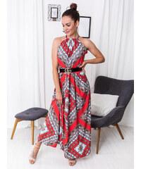 9a3038c33d8a www.glashgirl.sk Červené dlhé vzorované šaty s viazaním okolo krku