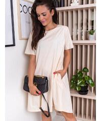 86b61b7a0d www.glashgirl.sk Béžové košeľové šaty s gumičkou Clara - Glami.sk