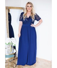 d074fdf75d1d ZAZZA Tmavo-modré šaty s krátkym rukávom