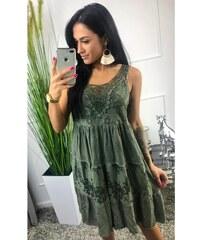 852727f9e5e7 BudTrendy Silno zelené šaty s krajkou v dekolte