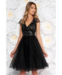 6fc41a9253 StarShinerS Fekete Artista alkalmi tüll harang ruha flitter belső béléssel  hímzett betétekkel