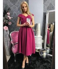 a5e523902ed6 PrestigeShop Elegantné Midi šaty s lodičkovým výstrihom a áčkovou sukňou -  magenta